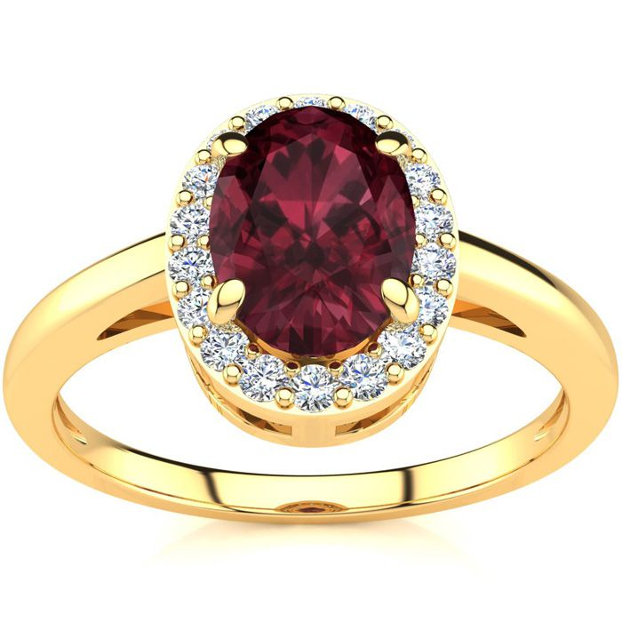 1 Carat Oval Shape Garnet & Halo Diamond Ring in 14K Yellow Gold