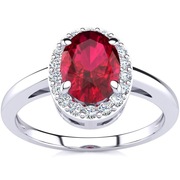 1 Carat Oval Shape Ruby & Halo Diamond Ring in 14K White Gold (3