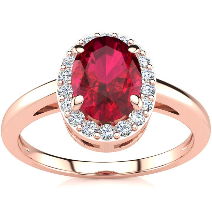 1 Carat Oval Shape Ruby & Halo Diamond Ring in 14K Rose Gold (3 g