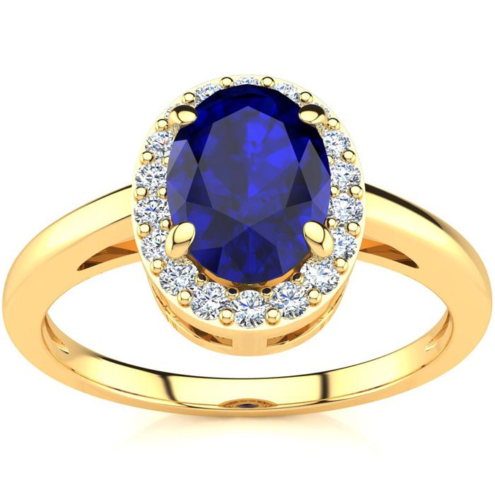 1 Carat Oval Shape Sapphire & Halo Diamond Ring in 14K Yellow Gol