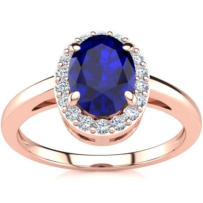 1 Carat Oval Shape Sapphire & Halo Diamond Ring in 14K Rose Gold