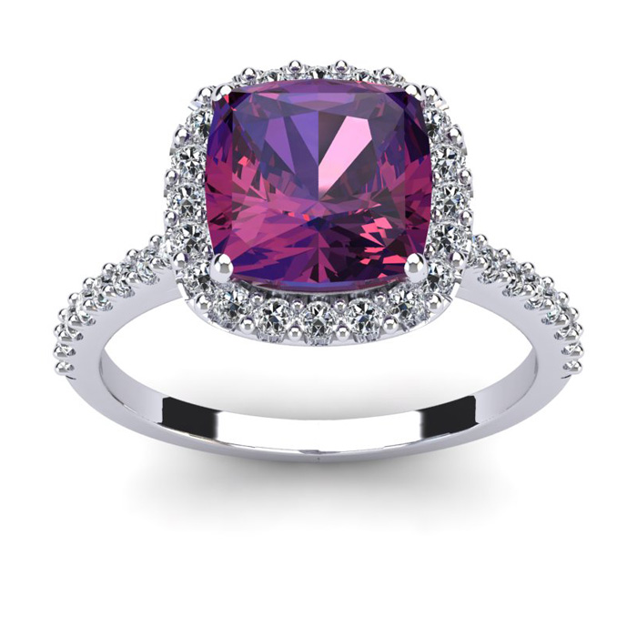 2.5 Carat Cushion Cut Amethyst & Halo Diamond Ring in 14K White G