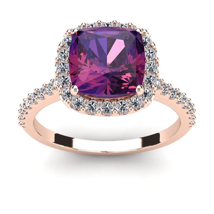 2.5 Carat Cushion Cut Amethyst & Halo Diamond Ring in 14K Rose Go
