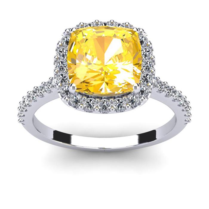 2.5 Carat Cushion Cut Citrine & Halo Diamond Ring in 14K White Go