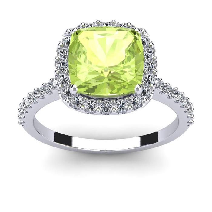 3 Carat Cushion Cut Peridot & Halo Diamond Ring in 14K White Gold