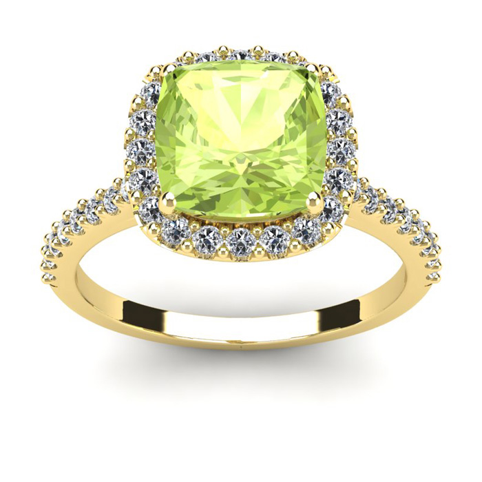 3 Carat Cushion Cut Peridot and Halo