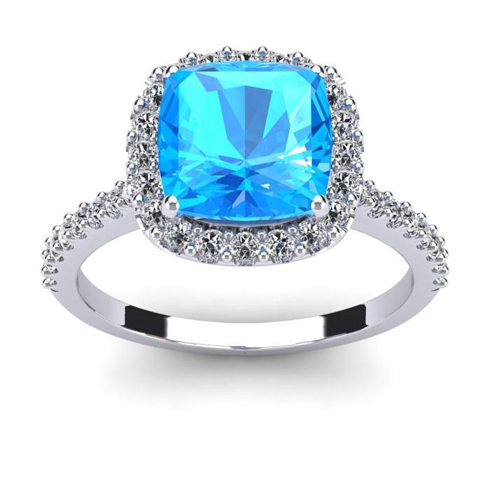 3 Carat Cushion Cut Blue Topaz & Halo Diamond Ring in 14K White G