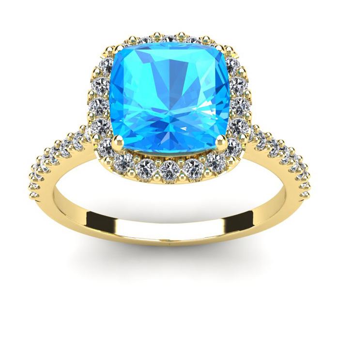 3 Carat Cushion Cut Blue Topaz & Halo Diamond Ring in 14K Yellow