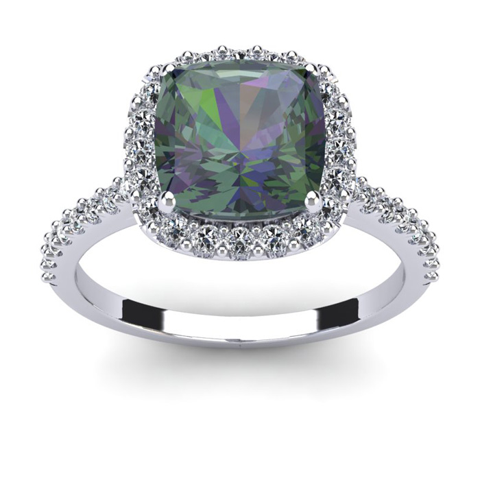 2.5 Carat Cushion Cut Mystic Topaz & Halo Diamond Ring in 14K Whi