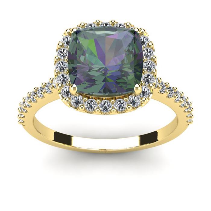 2.5 Carat Cushion Cut Mystic Topaz & Halo Diamond Ring in 14K Yel