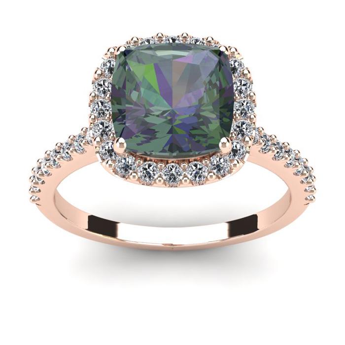 2.5 Carat Cushion Cut Mystic Topaz & Halo Diamond Ring in 14K Ros