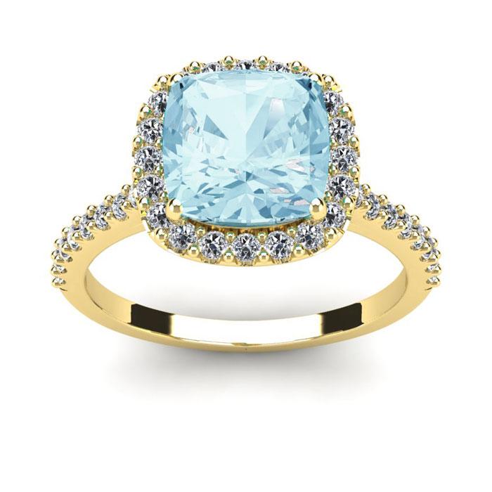 2.5 Carat Cushion Cut Aquamarine & Halo Diamond Ring in 14K Yellow Gold (4.5 g), I/J by SuperJeweler