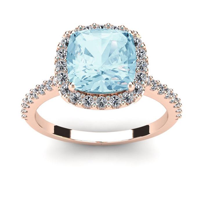 2.5 Carat Cushion Cut Aquamarine & Halo Diamond Ring in 14K Rose