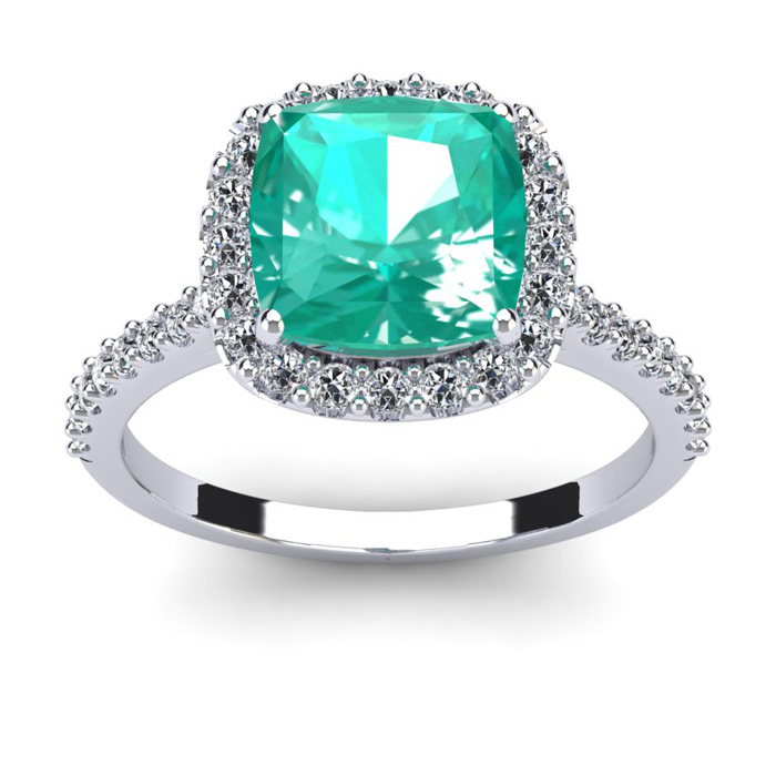 2.5 Carat Cushion Cut Emerald & Halo Diamond Ring in 14K White Go