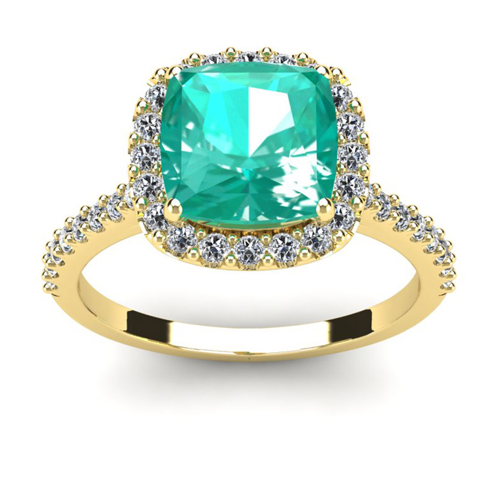 2.5 Carat Cushion Cut Emerald & Halo Diamond Ring in 14K Yellow Gold (4.5 g), I/J by SuperJeweler