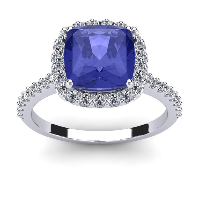 3 Carat Cushion Cut Tanzanite & Halo Diamond Ring in 14K White Go