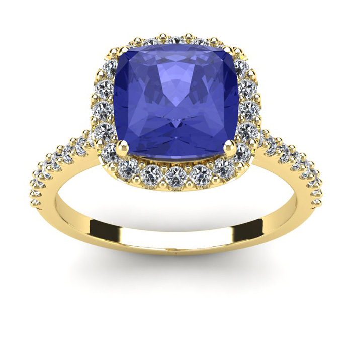 3 Carat Cushion Cut Tanzanite & Halo Diamond Ring in 14K Yellow G