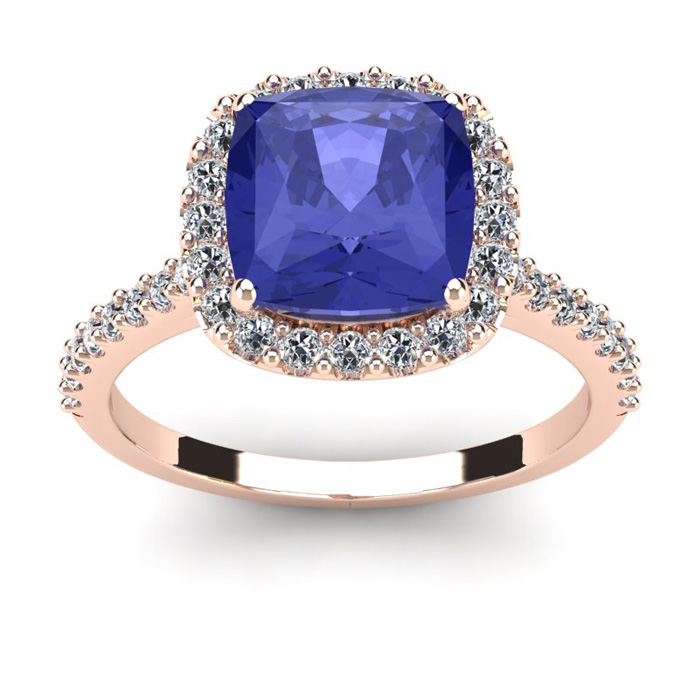 3 Carat Cushion Cut Tanzanite & Halo Diamond Ring in 14K Rose Gol