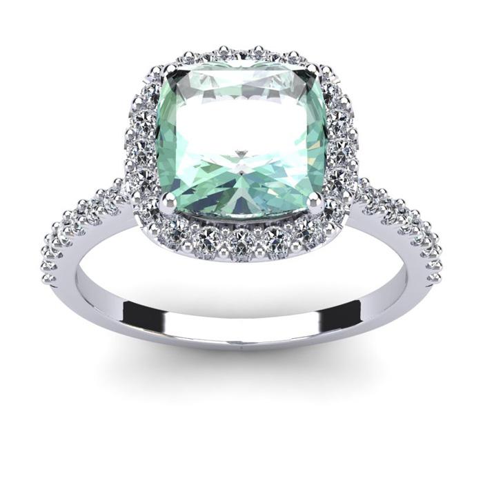 2.5 Carat Cushion Cut Green Amethyst & Halo Diamond Ring in 14K W
