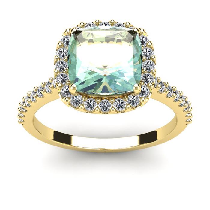 2.5 Carat Cushion Cut Green Amethyst & Halo Diamond Ring in 14K Y