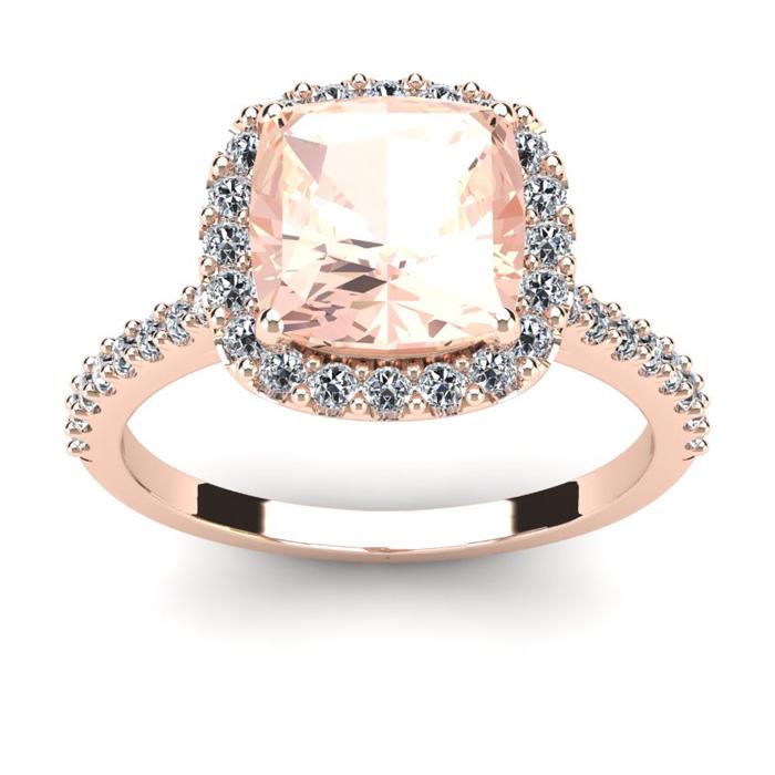 3 1/2 Carat Cushion Cut Morganite & Halo Diamond Ring in 14K Rose