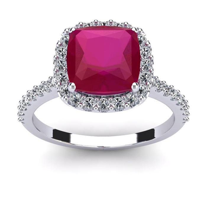 3 1/2 Carat Cushion Cut Ruby & Halo Diamond Ring in 14K White Gol
