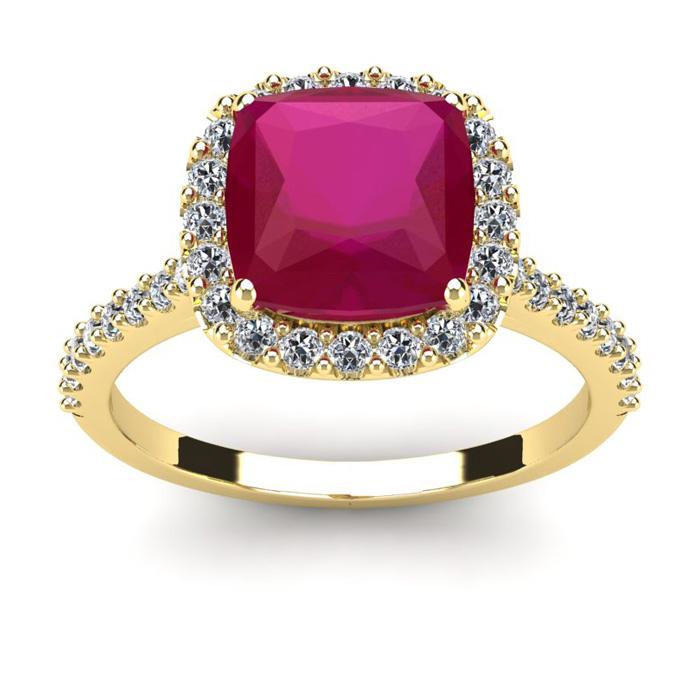 3 1/2 Carat Cushion Cut Ruby & Halo Diamond Ring in 14K Yellow Gold (4.5 g), I/J by SuperJeweler