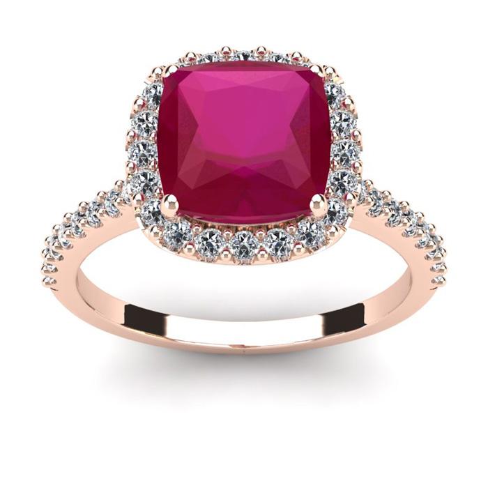 3 1/2 Carat Cushion Cut Ruby & Halo Diamond Ring in 14K Rose Gold