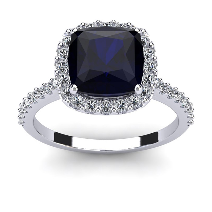 3 1/2 Carat Cushion Cut Sapphire & Halo Diamond Ring in 14K White