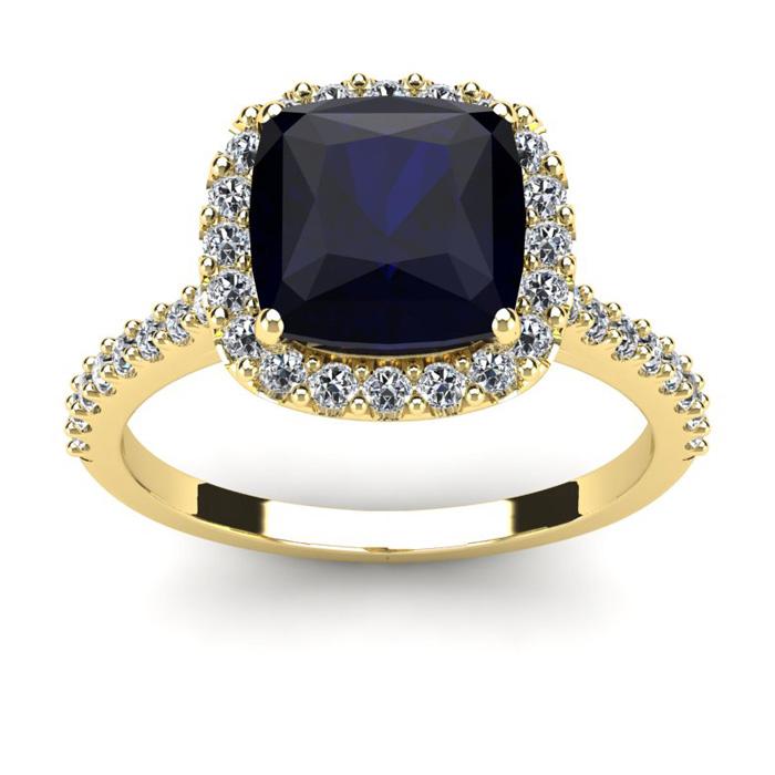 3 1/2 Carat Cushion Cut Sapphire & Halo Diamond Ring in 14K Yello