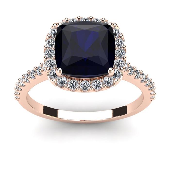 3 1/2 Carat Cushion Cut Sapphire & Halo Diamond Ring in 14K Rose Gold (4.5 g), I/J by SuperJeweler
