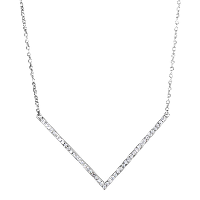Sterling Silver Cubic Zirconia V Bar Statement Necklace, 18 Inche