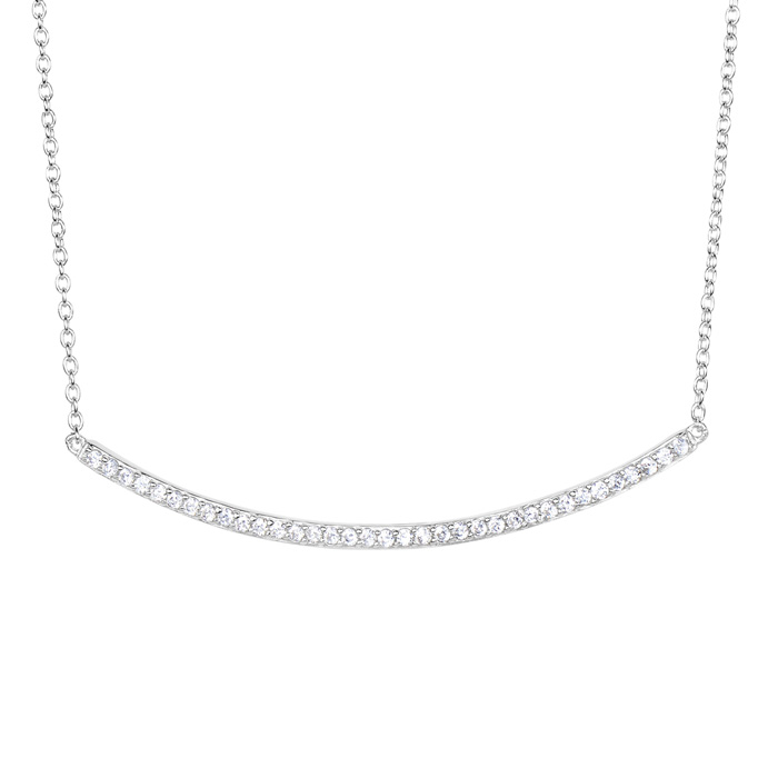 Sterling Silver Cubic Zirconia Curved Bar Dainty Necklace, 18 Inc