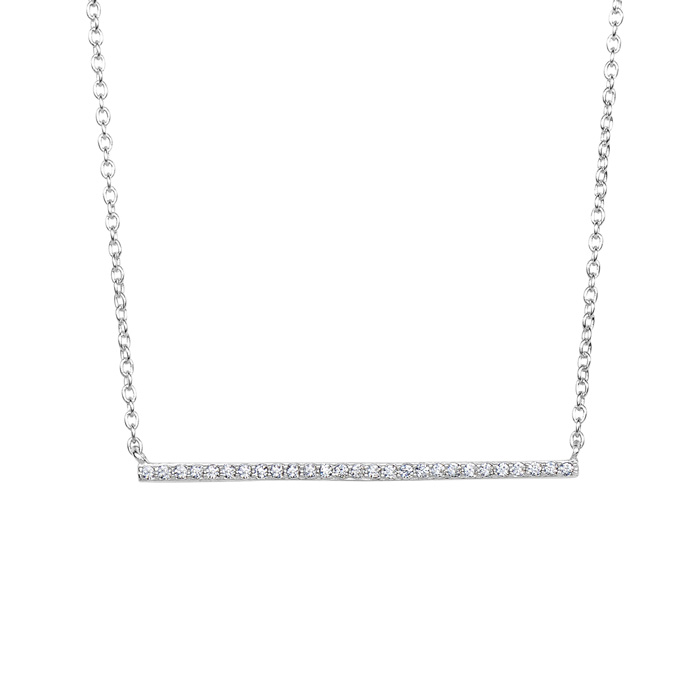 Sterling Silver Cubic Zirconia Dainty Bar Necklace, 18 Inches by