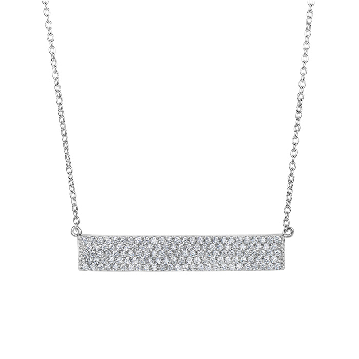 Sterling Silver Cubic Zirconia Statement Bar Necklace, 18 Inches