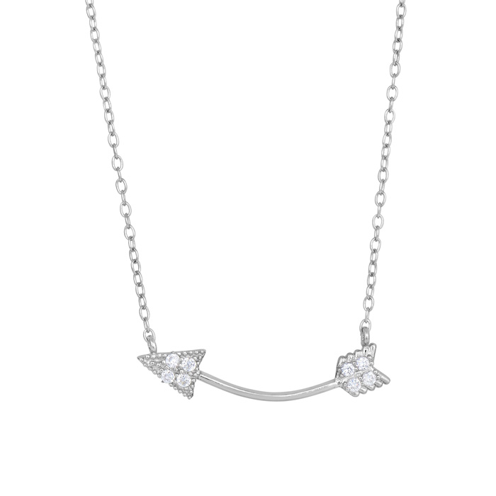 Sterling Silver Cubic Zirconia Curved Cupids Arrow Necklace, 18 I