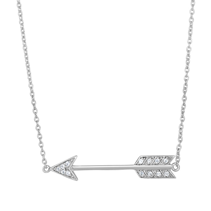 Sterling Silver Cubic Zirconia Cupids Arrow Necklace, 18 Inches b