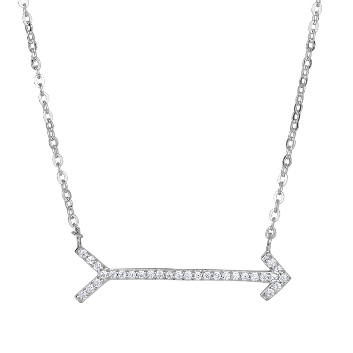 Sterling Silver Cubic Zirconia Arrow Necklace, 18 Inches by Super