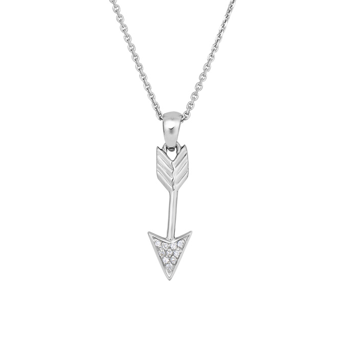 Sterling Silver Cubic Zirconia Dangling Arrow Necklace, 18 Inches
