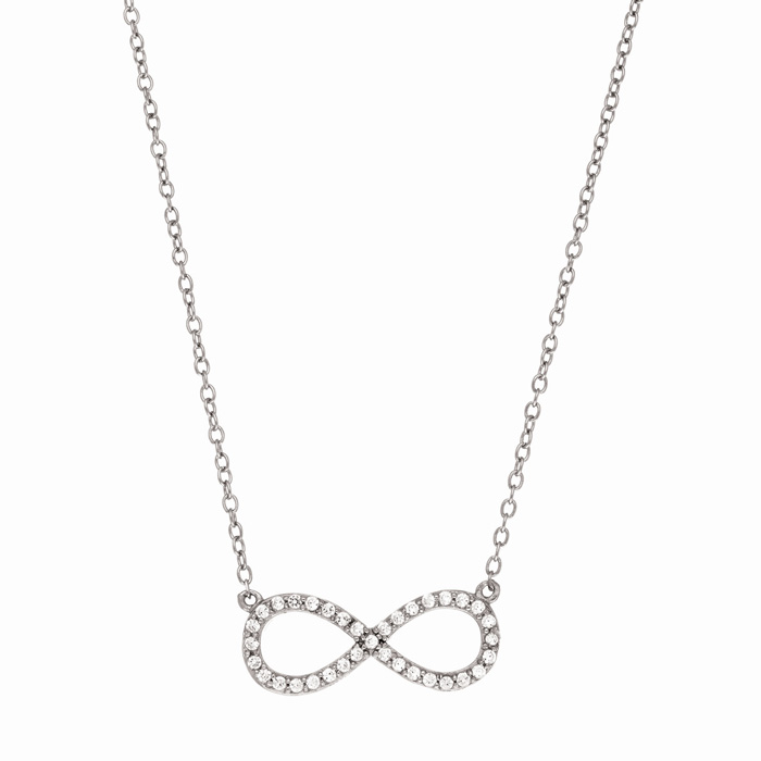 Sterling Silver Cubic Zirconia Infinity Pendant Necklace, 18 Inch