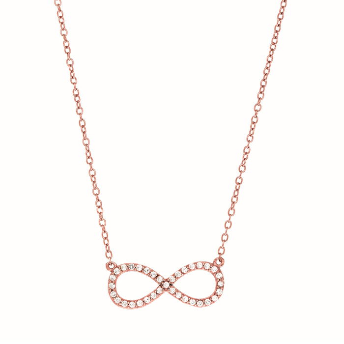 Rose Gold Cubic Zirconia Infinity Pendant Necklace, 18 Inch Chain