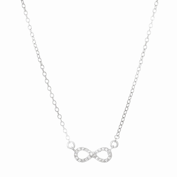 Sterling Silver Cubic Zirconia Delicate Infinity Pendant Necklace