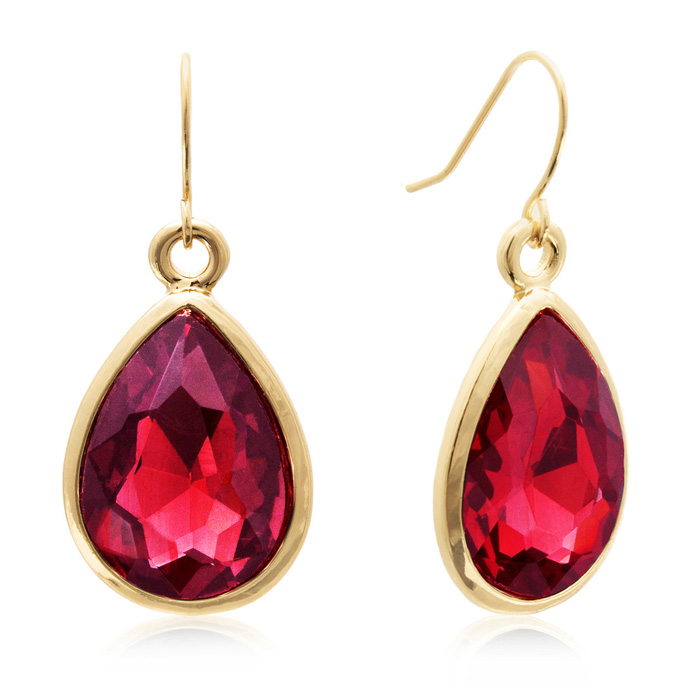 18 Carat Pear Shape Ruby Red Crystal Earrings, Gold Overlay by Ad