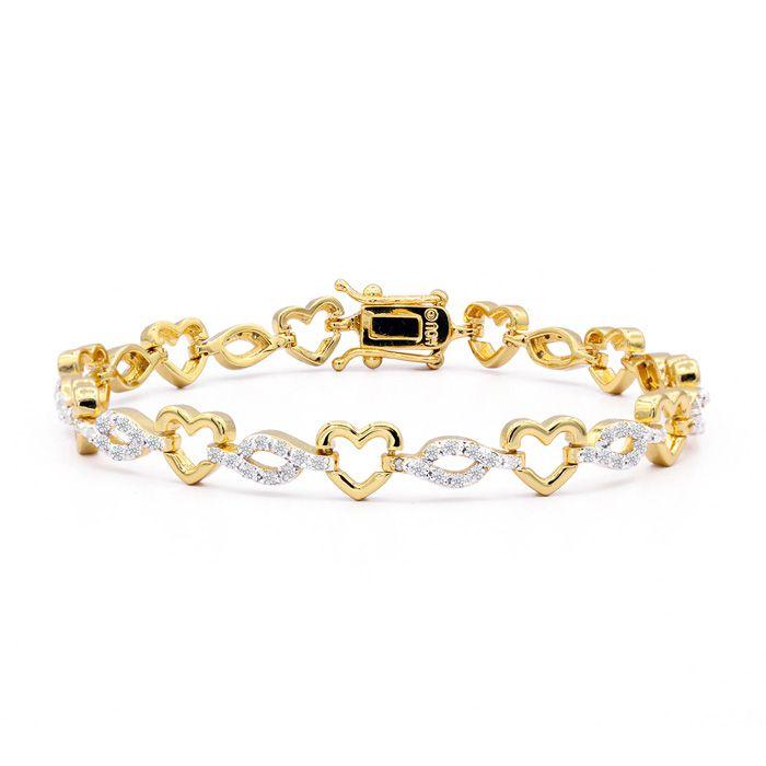 110 Natural Diamond Heart Bracelet In 14K