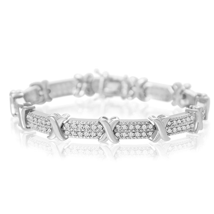 Tennis Bracelet Diamond 2 Carat X In Platinum Overlay Best Jewelry Deals