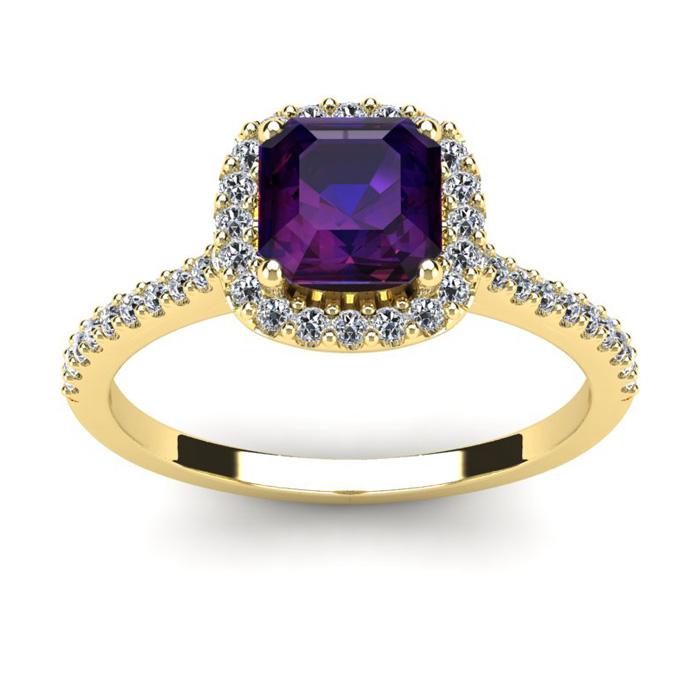1 Carat Cushion Cut Amethyst & Halo Diamond Ring in 14K Yellow Gold (3.6 g), I/J by SuperJeweler