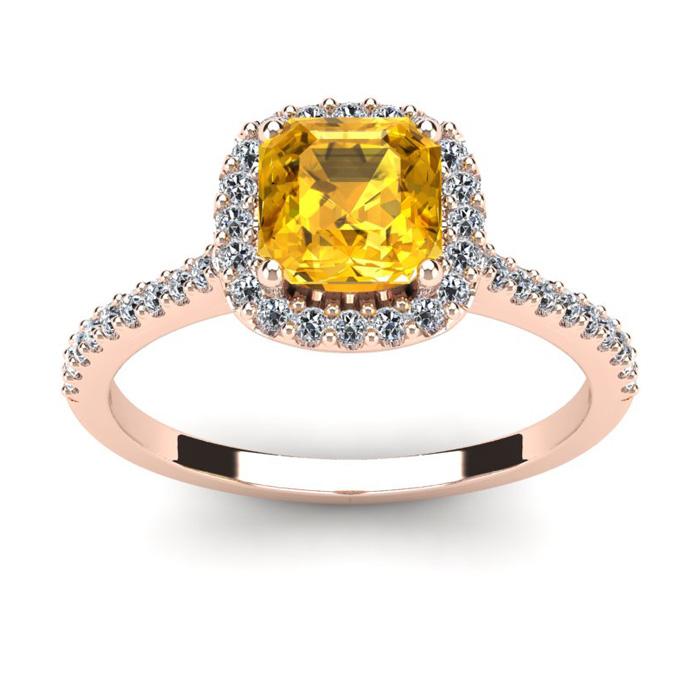 1 Carat Cushion Cut Citrine & Halo Diamond Ring in 14K Rose Gold