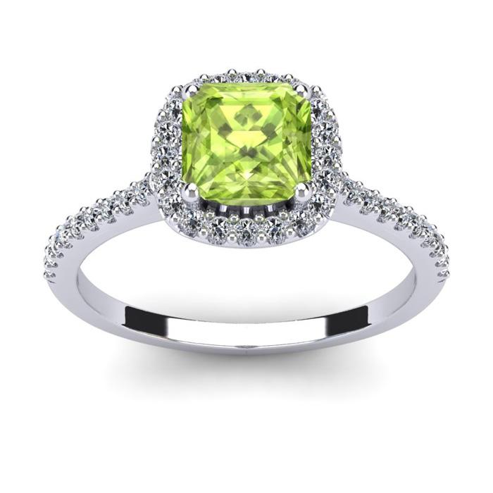 1.5 Carat Cushion Cut Peridot & Halo Diamond Ring in 14K White Go