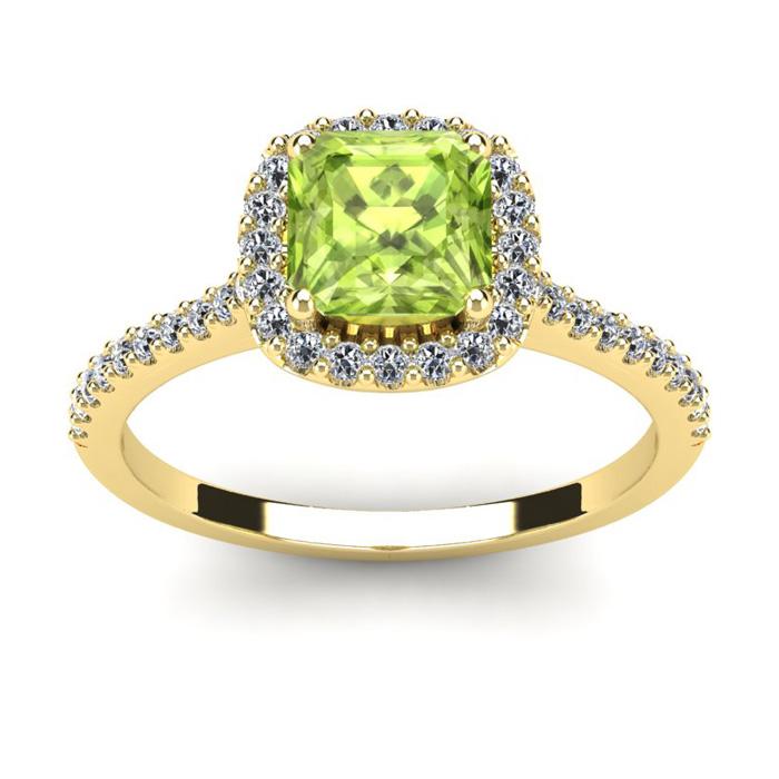 1.5 Carat Cushion Cut Peridot & Halo Diamond Ring in 14K Yellow G