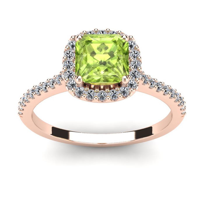 1.5 Carat Cushion Cut Peridot & Halo Diamond Ring in 14K Rose Gol